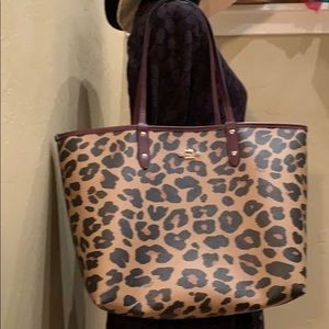 Coach Reversible Leopard Tote